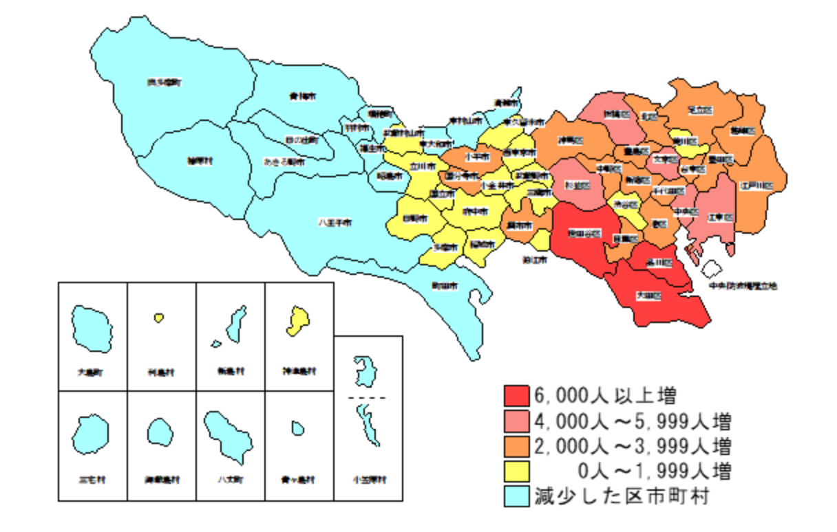 Population change number (the total number) according to area during 2030 Tokyo